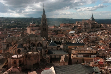 Taken through a glass window from the highest vantage point in Toledo, the cafeteria of the library in the Alcazar